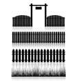 Set of Fences Gate and Grass vector image vector image
