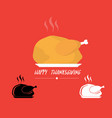 turkey roasted on plate logo for thanks giving vector image
