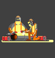 two welders in work vector image
