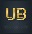 ub - initials or golden logo u and b - metallic vector image vector image