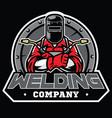 welder wearing welding helmet pose in badge vector image vector image