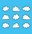 white cartoon clouds on blue background vector image