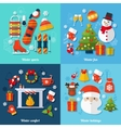 Winter flat set vector image vector image