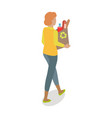 woman with paper bag buying daily products vector image vector image