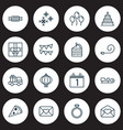 year icons set with pastry slice candy party vector image vector image