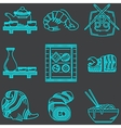 Japanese food blue icons collection vector image