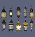 ramadan old lanterns and lamps of arabic style vector image