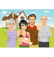 A family in front of classic cottage vector image