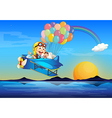 A plane with monkeys and balloons vector image vector image