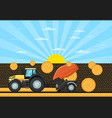agricultural tractor hay baler in field vector image vector image