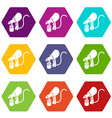 air paint sprayer icons set 9 vector image vector image
