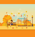 autumn kids playground girl resting in park vector image vector image
