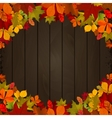 Autumn leaves on dark wooden background Design vector image vector image