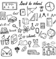 Back to School Supplies Sketchy Doodles set with vector image vector image