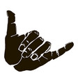 black silhouette realistic shaka hand gesture icon vector image vector image