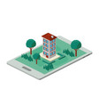 building and trees isometric scene on smartphone vector image