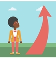 Business woman looking at arrow going up vector image vector image