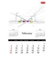 Calendar 2014 february Streets of the city sketch vector image vector image