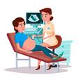 cartoon ultrasound pregnancy screen concept vector image vector image
