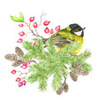 christmas and new year holiday emblem with bird vector image vector image