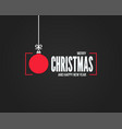 christmas card with merry xmas ball on black vector image vector image