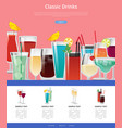 classic drinks web poster with samples of alcohol vector image vector image
