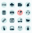 digital icons set with computer adapter speaker vector image vector image