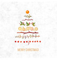 greeting card with christmas decorations in shape vector image vector image