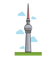 high berlin tv tower among clouds cartoon vector image
