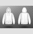 hoody white sweatshirt mock up front and back set vector image