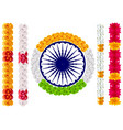 indian flower garland mala india flag and ashoka vector image vector image