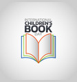 international childrens book day logo icon design vector image