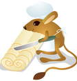 Jerboa chef cuts the dough vector image vector image