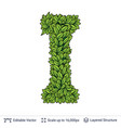 letter i symbol of green leaves vector image