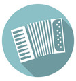 long shadow flat icon of accordeon vector image