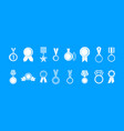 medal icon blue set vector image