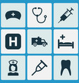 medicine icons set collection of nanny dental vector image vector image