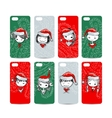 Mobile phone cover back Santa girls for your vector image vector image