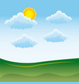 natural meadow cloud sun landscape vector image