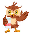 owl holding milk on white background vector image vector image