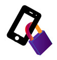 phone is locked lock in a smart phone icon vector image vector image
