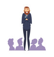 public speaking fear man with microphone in front vector image
