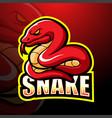 red snake mascot esport logo design vector image vector image