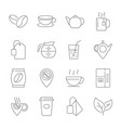 set of coffee and tea line icons contains suc vector image vector image