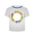 T Shirt Template- colorful hands vector image vector image