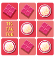 Tic-Tac-Toe of strawberry cup cake and strawberry vector image