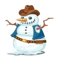 Unusual snowman with hat and vest cowboy style vector image