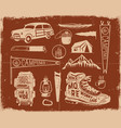 vintage hand drawn adventure symbols hiking vector image vector image