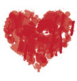 watercolor abstract heart with splashes of blood vector image vector image