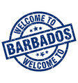 welcome to barbados blue stamp vector image vector image